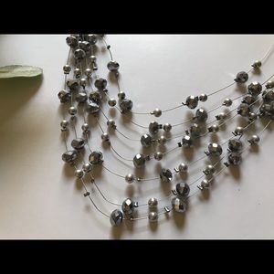 Vintage Jewelry - <VINTAGE> Silver Multi-Strand Beaded Wire Necklace